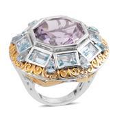 Rose De France Amethyst, Sky Blue Topaz 14K YG and Platinum Over Sterling Silver Statement Ring (Size 6.0) TGW 20.77 cts.