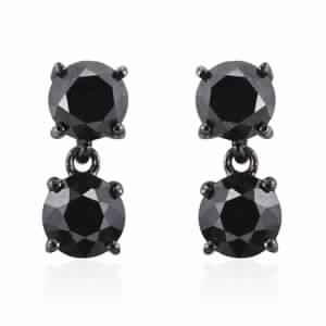 Doorbuster Black Diamond Black Rhodium & Sterling Silver Large Dangle Sterling Silver Earrings TDiaWt 3.80 cts, TGW 3.80 cts.