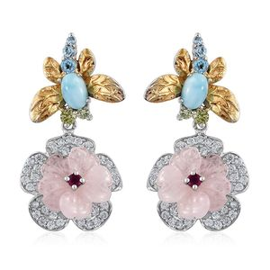 Multi Gemstone 14K YG and Platinum Over Sterling Silver Flower Earrings TGW 11.17 cts.