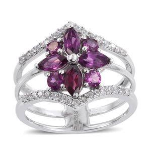Purple Garnet, White Zircon Platinum Over Sterling Silver Triple Band Ring (Size 6.0) TGW 2.14 cts.