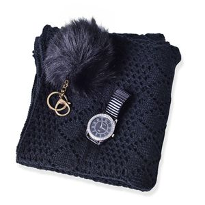 Black Diamond Pattern 100% Acrylic Kimono (35.5x18.5 in), Pom Pom Goldtone Keychain and STRADA White Austrian Crystal Japanese Movement Watch  Total Gem Stone Weight 2.703 Carat