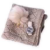 Khakhi Diamond Pattern 100% Acrylic Kimono (35.5x18.5 in), Pom Pom Goldtone Keychain and STRADA White Austrian Crystal Japanese Movement Watch Total Gem Stone Weight 2.702 Carat