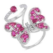 Niassa Ruby, White Zircon Sterling Silver Double Band Flying Butterfly Knuckle Ring (Size 9.0) TGW 6.37 cts.
