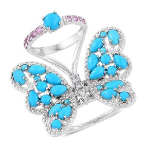 Arizona Sleeping Beauty Turquoise, Madagascar Pink Sapphire, White Zircon Sterling Silver Butterfly Ring (Size 6.0) TGW 4.84 cts.