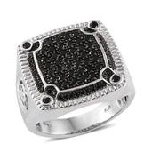 Thai Black Spinel Platinum Over Sterling Silver Men's Ring (Size 12.0) TGW 2.500 cts.