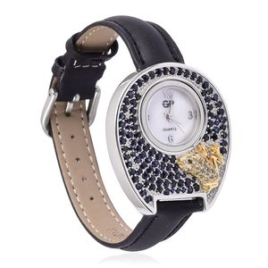 Multi Sapphire Japanese Movement Frog Watch with Black Genuine Leather Band and ION Plated YG and Stainless Steel Back TGW 5.51 cts.