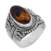 Bali Legacy Collection Baltic Amber Sterling Silver Wide Elongated Ring (Size 9.0)