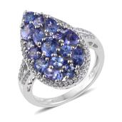 Tanzanite, Cambodian Zircon Platinum Over Sterling Silver Cluster Split Ring (Size 9.0) TGW 3.90 cts.