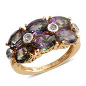 Northern Lights Mystic Topaz, White Topaz 14K YG Over Sterling Silver Ring (Size 6.0) TGW 6.17 cts.