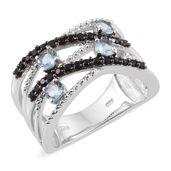 Santa Maria Aquamarine, Thai Black Spinel Platinum Over Sterling Silver Openwork Wide Ring (Size 5.0) TGW 1.21 cts.