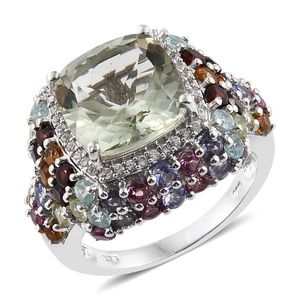 Green Amethyst, Multi Gemstone Platinum Over Sterling Silver Ring (Size 7.0) TGW 12.840 cts.