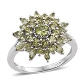 Arizona Peridot Platinum Over Sterling Silver Split Ring (Size 8.0) TGW 2.77 cts.
