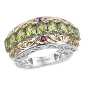 Arizona Peridot, Ruby 14K YG and Platinum Over Sterling Silver Euro Style Ring (Size 7.0) TGW 4.82 cts.