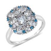 Espirito Santo Aquamarine, Malgache Neon Apatite Platinum Over Sterling Silver Ring (Size 8.0) TGW 2.66 cts.