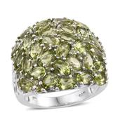 Arizona Peridot Platinum Over Sterling Silver Cluster Ring (Size 7.0) TGW 8.600 cts.