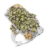 Arizona Peridot 14K YG and Platinum Over Sterling Silver Elongated Ring (Size 6.0) TGW 5.22 cts.