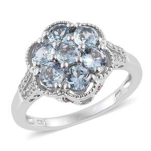 Espirito Santo Aquamarine, Madagascar Pink Sapphire, White Zircon Platinum Over Sterling Silver Split Ring (Size 5.0) TGW 2.12 cts.