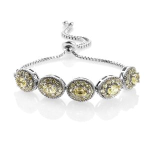 Brazilian Canary Chrysoberyl Platinum Over Sterling Silver Magic Ball Bracelet (Adjustable) TGW 5.40 cts.