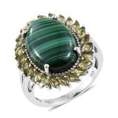 African Malachite, Hebei Peridot Platinum Over Sterling Silver Split Statement Ring (Size 9.0) TGW 18.50 cts.