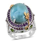 Larimar, Multi Gemstone 14K YG Over Sterling Silver Statement Ring (Size 6.0) TGW 19.58 cts.