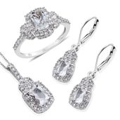 Brazilian Goshenite, White Zircon Platinum Over Sterling Silver Lever Back Earrings, Ring (Size 8) and Pendant With Chain (20 in) TGW 5.760 cts.