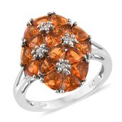 Salamanca Fire Opal, White Zircon Platinum Over Sterling Silver Ring (Size 6.0) TGW 2.620 cts.
