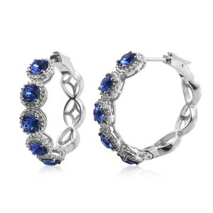 KARIS Collection - Platinum Bond Brass Latch Huggie Hoop Earrings Made with SWAROVSKI Blue Sapphire Crystal