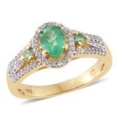 Boyaca Colombian Emerald, Cambodian Zircon 14K YG Over Sterling Silver Ring (Size 7.0) TGW 1.390 cts.