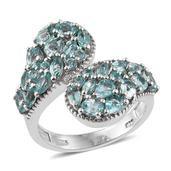 Mint Apatite Platinum Over Sterling Silver Bypass Ring (Size 5.0) TGW 3.60 cts.