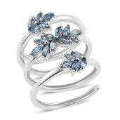 Santa Maria Aquamarine Platinum Over Sterling Silver Elongated Swirl Ring (Size 6.0) TGW 1.38 cts.