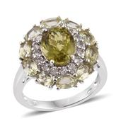 Madagascar Yellow Apatite, White Topaz Platinum Over Sterling Silver Ring (Size 7.0) TGW 5.950 cts.