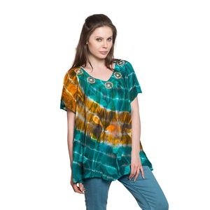 Indigo Collection - Teal and Orange 100% Viscose Rayon Crepe Tie-dye V-Neck Blouse or Beach Cover-up (Free Size)