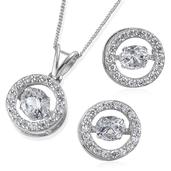 J Francis - Platinum Over Sterling Silver Earrings and Pendant With Chain (20 in) Made with SWAROVSKI ZIRCONIA TGW 6.500 Cts.
