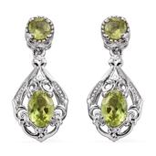 KARIS Collection - Hebei Peridot Platinum Bond Brass Dangle Earrings TGW 2.28 cts.