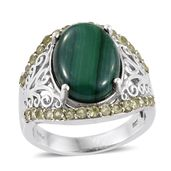 African Malachite, Hebei Peridot Platinum Over Sterling Silver Ring (Size 7.0) TGW 14.20 cts.