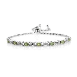 Ambanja Demantoid Garnet Platinum Over Sterling Silver Bracelet (Adjustable) TGW 1.580 cts.