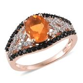Salamanca Fire Opal, Thai Black Spinel, White Zircon 14K RG Over Sterling Silver Ring (Size 9.0) TGW 2.450 cts.