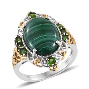 African Malachite, Russian Diopside 14K YG and Platinum Over Sterling Silver Openwork Ring (Size 9.0) TGW 12.890 cts.