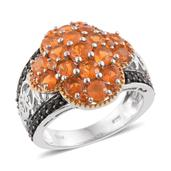 Salamanca Fire Opal, Thai Black Spinel 14K YG and Platinum Over Sterling Silver Ring (Size 6.0) TGW 2.66 cts.