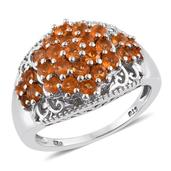 Salamanca Fire Opal Platinum Over Sterling Silver Openwork Cluster Ring (Size 5.0) TGW 1.12 cts.