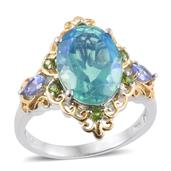 Peacock Quartz, Tanzanite, Russian Diopside 14K YG and Platinum Over Sterling Silver Ring (Size 6.0) TGW 6.95 cts.