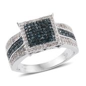 Blue Diamond (IR), Diamond Platinum Over Sterling Silver Ring (Size 8.0) TDiaWt 1.00 cts, TGW 1.00 cts.