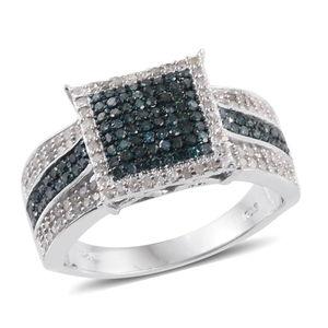 Blue Diamond (IR), Diamond Platinum Over Sterling Silver Ring (Size 9.0) TDiaWt 1.00 cts, TGW 1.00 cts.