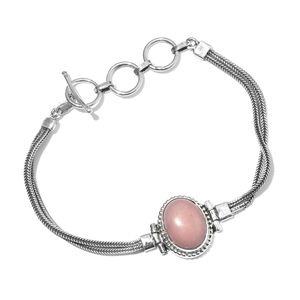 Artisan Crafted Peruvian Pink Opal Sterling Silver Bracelet (7.00 In) TGW 7.350 cts.