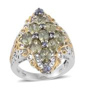 Madagascar Yellow Apatite, Tanzanite 14K YG and Platinum Over Sterling Silver Openwork Elongated Ring (Size 5.0) TGW 4.52 cts.