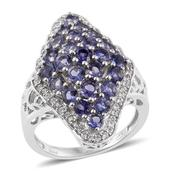 Catalina Iolite, Cambodian Zircon Platinum Over Sterling Silver Cluster Ring (Size 6.0) TGW 3.02 cts.