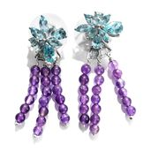 Mint Apatite, Amethyst Platinum Over Sterling Silver Dangle Earrings TGW 17.54 cts.