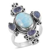 Artisan Crafted Larimar, Rough Cut Tanzanite Sterling Silver Ring (Size 10.0) TGW 9.64 cts.