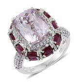 Urukun Kunzite, Niassa Ruby, White Zircon Platinum Over Sterling Silver Ring (Size 9.0) TGW 14.35 cts.