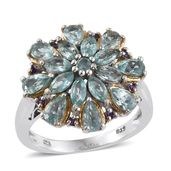 Mint Apatite, Amethyst 14K YG and Platinum Over Sterling Silver Ring (Size 6.0) TGW 3.82 cts.
